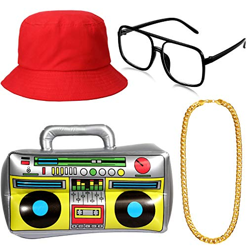 Kit de Disfraces de Hip Hop, Gafas de Sol Inflablesom Sombrero del Cubo de Caja de Pluma Cadena de Oro Accessories de Raperos de 80s/ 90s (Rojo)