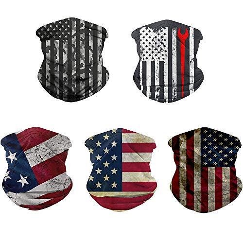 Rainlin American Flag Outdoor Bandana- Multifunctional Microfiber American Flag UV Protection Face Neck Shields Headwear for Men and Women Motorcycle Hiking Cycling Ski Snowboard (A-5 Pcs)
