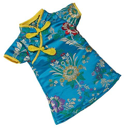 P Prettyia Elegante Puppenkleid Chinesisches Qipao Cheongsam Kleid für 18 Zoll Weibliche Puppen - Dunkelblau
