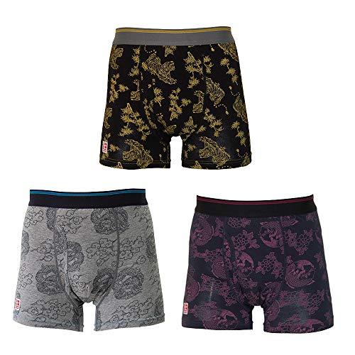 【3枚組】男性用 尿漏れパンツ 失禁パンツ スマートボクサーパンツ【和柄】3Lサイズ TJI-136 (LL)