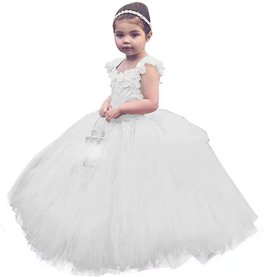 QueenBridal Vintage Ball Gown Lace Flower Girl Dresses Tutu Dress Party Gown Long QB-F23