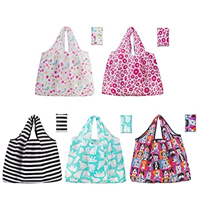 5 Pack Reusable Grocery Bags Foldable Large Sho...