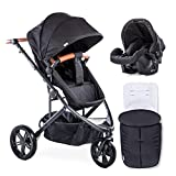 New Hauck Pacific 3 Shop N Drive Travel System 2 Way Facing 3 Wheel Pushchair Pram+Car seat+cosytoes+Raincover in Caviar Black