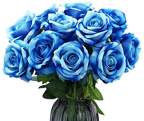 Olrla 12st blau künstliche Rosen mit stiel, künstlich blühende Rosen-samt, Braut bouqets für Hochzeit, Haus-Geburtstags-Party arrangment gartendeko (blau 12)