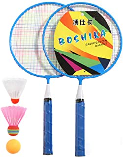 Tomaibaby Kids Badminton Set, Blue Beginner Badminton Racket with 3 Badmintons for Outdoor Playing Sports
