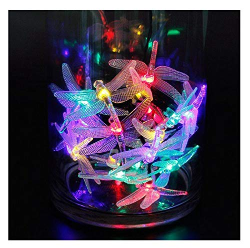 Multicolour Solar Dragonfly String Lights - 20 Led Dragonfly Solar Powered Lighting Lamps Outdoor Indoor Solar String Lights Colours, Christmas Decorative Lights for Room Party Wedding (multicolor)