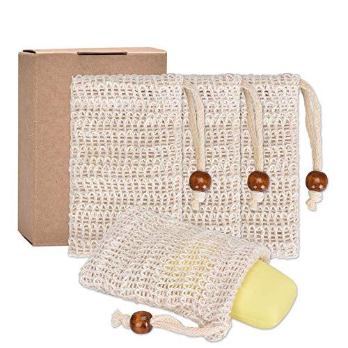 Pretop 4x Seifensäckchen Bio, Seifensäckchen Sisal, Seifenbeute Natur, Aufschäumen und Trocknen der Seife, Peeling, Massage, Seifenbeutel | Seifensack | Seifenreste | Seifentasche