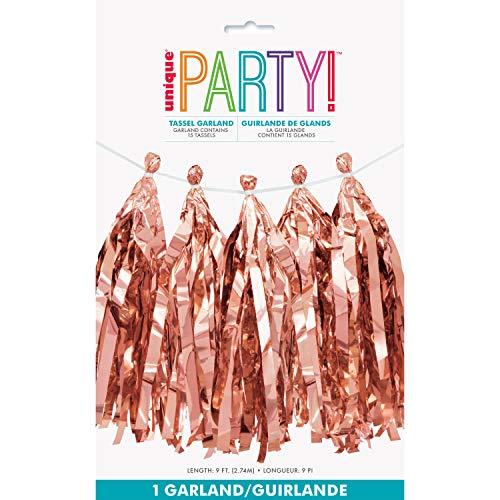 Unique Party 62949-9ft Foil Rose Gold Tassel Garland