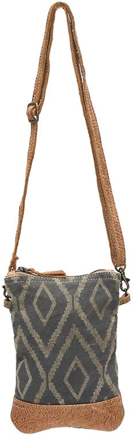 Chevron Print Ucycled Canvas and Genuine Leather Crossbody Bag Small