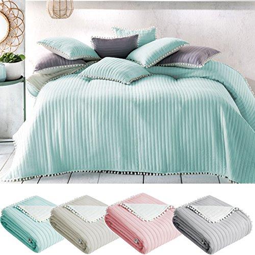 JEMIDI Tagesdecke Bett & Sofaüberwurf Bommel 220cm x 240cm Bettüberwurf Sofa Tages Decken Betthusse XXL Decke Mint