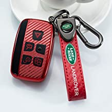 Nonesuper Soft TPU Carbon Fiber Key fob Cover for Land Rover Range Rover Evoque Velar LR4 Sport and Jaguar XF XJ XE F-Type 5-Buttons Key Cover Key case Compatible Smart Remote Control Key Holder.
