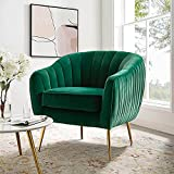 Altrobene Tufted Accent Chair, Velvet Upholstered Arm Chair with Gold Legs for Living Room Bedroom, Christmas Green