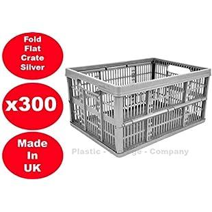 300 x 32 Litre Foldable Crate Plastic Storage Box Basket