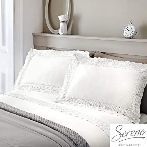 Doppelbett VINTAGE Weiß Spitze verziert Bettbezug Set