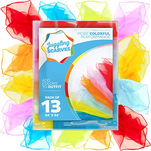 Bufandas para malabares (13 unidades), bufandas para niños (7 colores vibrantes), bufandas de baile para música y movimiento, bufandas divertidas para malabares para niños,...