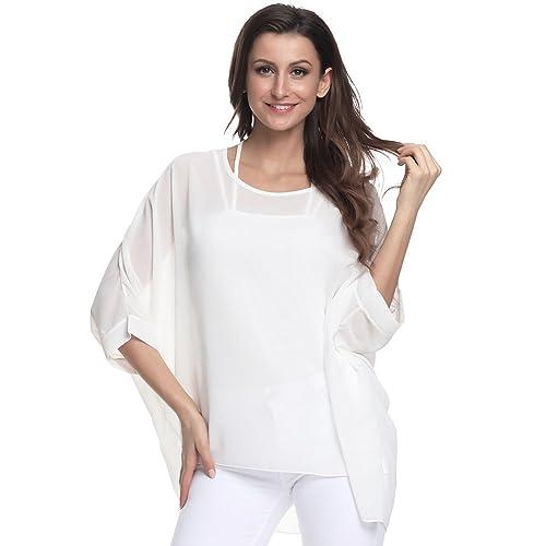 4fdeafb09e5 Wiwish Women's Baggy Solid Sheer Chiffon Caftan Poncho Plus Size Batwing  Tunic Top Blouse