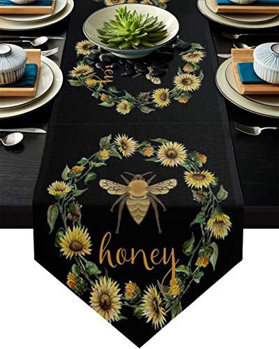 Camino de mesa de arpillera, corona de girasoles amarillos y abejas sobre fondo negro, mantel, bufandas de 33 x 177 cm