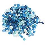 HEALLILY Azulejos de Mosaico con Purpurina Chips Caídos Piedras de Mosaico de Cristal Triturado Piezas de Confeti para Fiesta Decoración Artesanal Azul 500G