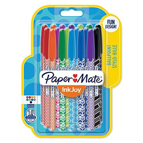 Paper Mate InkJoy Wrap penne a sfera, punta media, colori assortiti, confezione da 18, motivi assortiti