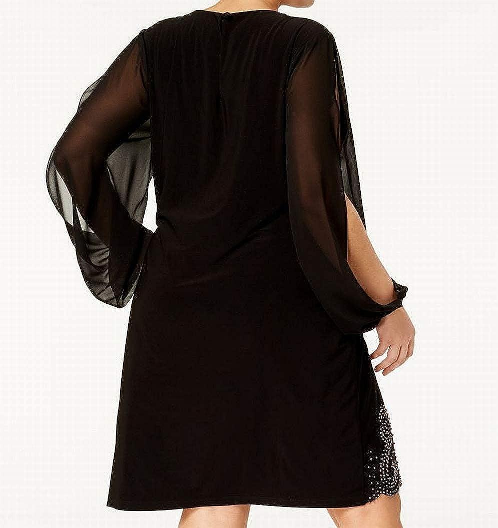 X By Xscape Women's Plus Size Cold-Shoulder Beaded Dress