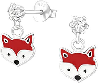 Cute Fox Studs Earrings Girls made with Swarovski Crystals and Sterling Silver 925 Nickle Free (32849)