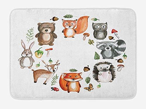 Kanaite Alfombra de baño Woodland, Animales del Bosque con Setas Bellotas Marco Circular Colores Pastel de Dibujos Animados, Alfombra de baño de Felpa con Respaldo Antideslizante