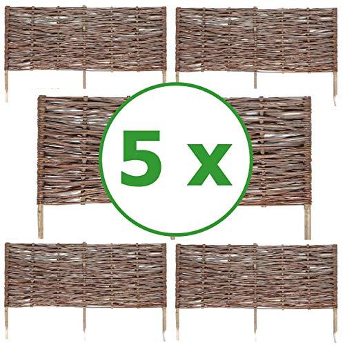 BOGATECO 5 x Beeteinfassung aus Weide | 100 cm Lang & 40 cm Hoch | Holz-Zaun Rasenkante | Weiden-Zaun Steckzaun Perfekt für den Garten als Weg-Abgrenzung