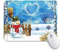 マウスパッド クリスマス雪だるまと冬のキッズフェスティバルで雪に覆われた夜空でクマのダンス ゲーミング オフィス最適 高級感 おしゃれ 防水 耐久性が良い 滑り止めゴム底 ゲーミングなど適用 用ノートブックコンピュータマウスマット