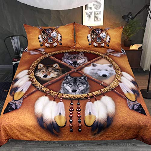 Sleepwish 4 Wolves Dreamcatcher Bedding Golden Brown Duvet Cover Vintage Feather Bedding Cover Set (Queen)