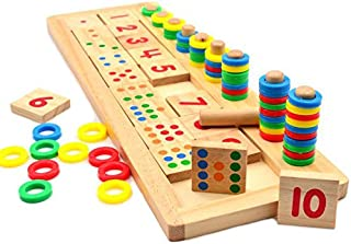 Montessori Rainbow Rings Dominos Number 1-10, Children Preschool Teaching Aids Board Wooden Math Toy