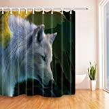 Animal Home Decor - Cortina de ducha de lobo blanco de 200 x 180 cm, tela de poliéster...