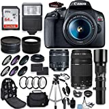 Canon EOS Rebel T7 DSLR Camera + Canon EF-S 18-55mm + Canon 75-300mm & 500mm Telephoto Lens + Wide Angle & Telephoto Lens + Macro Filter Kit + 64GB Memory + Accessory Kit