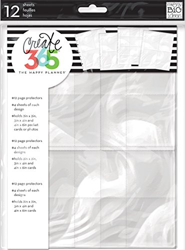 Me & My Big Ideas Page Protectors - The Happy Planner Scrapbooking Supplies - 12 Pre-Punched Sheets - 4 Unique Layouts - Make It Easy to Include Photos & Pocket Cards in Your Planner - Classic Size
