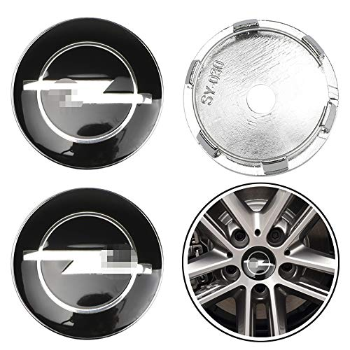 ZGYAQOO 4 Stück Embleme Radnabenkappen Aufkleber Nabendeckel für Opel Astra H G J Insignia Mokka Zafira Corsa, 60mm Ersatzteil Alufelgen Nabenkappen