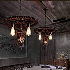 YUNZHI Durable Exquisite Nordic LOFT Retro Industrial Wind Gear Water Pipe Chandelier 2 Head Gear Steampunk Water Pipe Chandelier Hanging Lamp Recessed Pendant Light Cafe Bar Restaurant Chandeliers #1