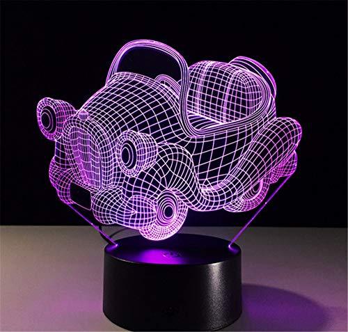 Voiture de sport Acrylique 3D Lampe 7 Couleur Chang Petite Veilleuse Bébé Bureau lampe Télécommande Interrupteur Lumières colorées Décoration Halloween Lampe