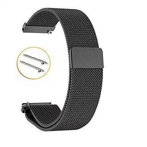 Love+djl Bracelets de Montre, Bracelet 22mm 20 Mm for Samsung Galaxy Montre 42mm 46mm en Acier Inoxydable Boucle (Color : Black, Size : 20mm Gear Sport)