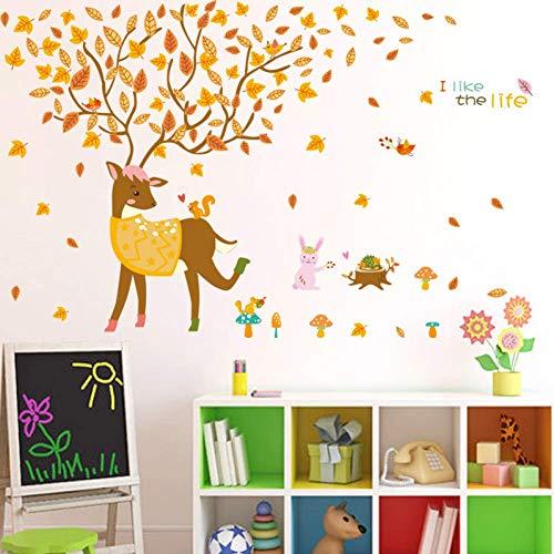 FLOORMATJING Cartoon Tiere Wandaufkleber für Kinderzimmer Babybett Home Decor Großer Baum Gelb Ahorn Blatt Aufkleber Stick An Wand