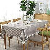 meioro Manteles Rectangular Mantel antimanchas Mantel para Mesa de lino Striped tassel tablecloth La decoración del hogar es adecuada para interiores y exteriores (Rayas marrones / blancas, 100×140cm)