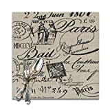 Jianyue French Script Placemats for Dining Table Heat-Resistant Kitchen Banquet Party Table Mats Set of 6,(12x12inch)