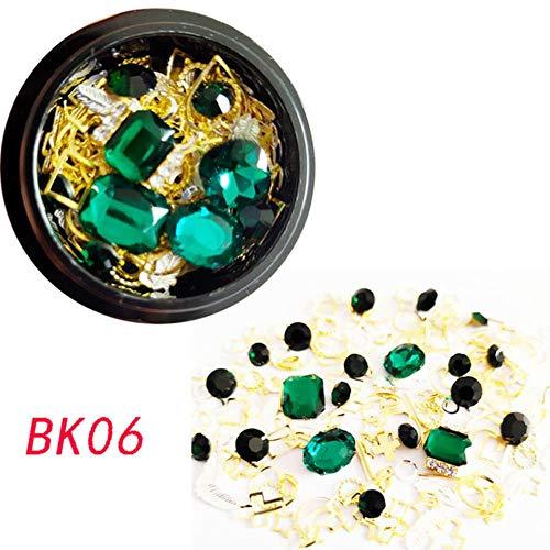 Vente chaude 1 Boîte Mixte Strass Colorés Pour Ongles 3D Rivet En Métal Pour Nail Art Décorations Diy Conception Manucure Diamants, BK06