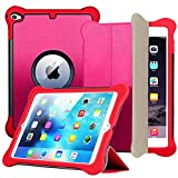 Weuiean for iPad Air 2 Case, Dual Layers Leather Trifold Stand Multi Angle Viewing Case, Drop Proof Silicone Auto Sleep Wake Magnet Cover for iPad A1566 A1567 Case for Kids, Adults - Rose