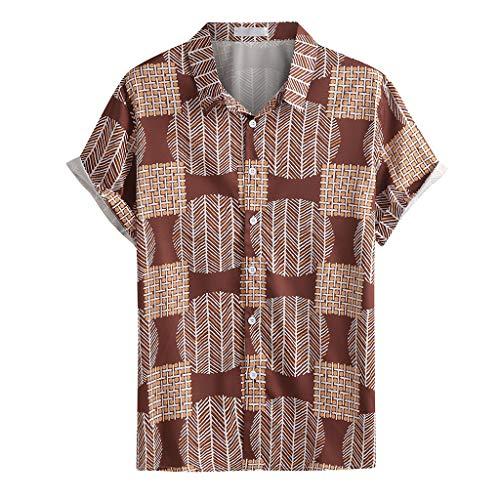 Yowablo Herren Hemd Hawaiihemd Freizeithemd Kurzarm Hemd Herren Kurzarm (L,4Kaffee)