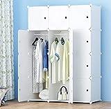 HOMEYFINE Armario portátil para Dormitorio, Armario de Almacenamiento, Aparador colocado en Pared, Armario Modular de plástico con rieles, Blanco(12 cúbicos)