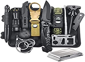 Bug Out Backpack Equipment and Accessories with fire Starter and Compass. 14-in-1 Survival kit. Tactical Survival Tool for Camping, Hiking, Hunting, and Fishing. Prepper Gear. The Ideal Gift for Men.