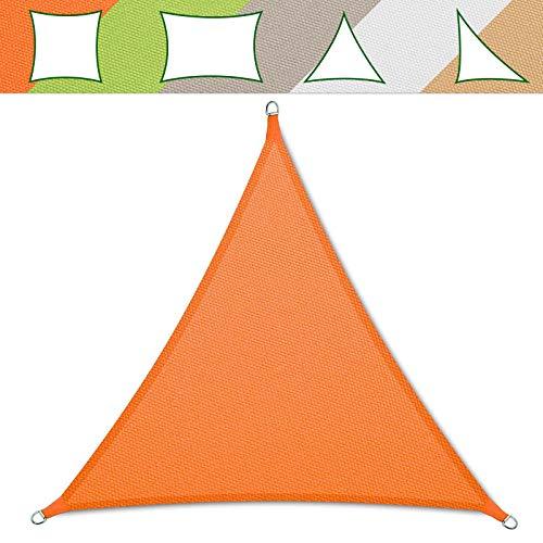 Voile d'ombrage casa pura® - Noté 1.4 au test - Imprégné de répulsif - En forme de triangle équilatéral - Protection anti-UV -Différentes couleurs et tailles 5x5x5m orange