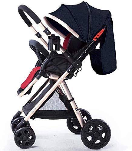 OESFL Cochecito de bebé Cochecito de viajes for el infante recién nacido Niño Ligero cochecito cómodo, Alta Vista del cochecito de niño unisex oscuro azul suave Cochecito de bebé con 5 puntos de arnés