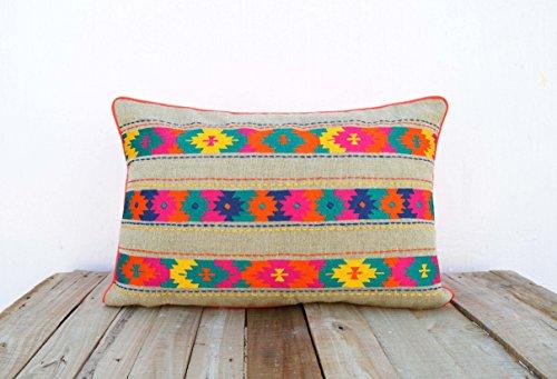 Colorido de Bohemia estilo lino funda de almohada, bordado funda de almohada de Marruecos, Tribal indio cojín, peruana, azteca funda de almohada, Ethnic, 14x21
