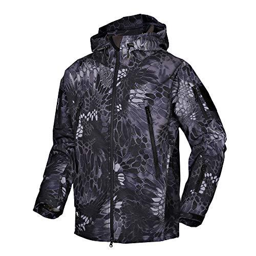 Wisdom Wolf - Giacca da sci per uomo in stile militare, in pile, impermeabile Softshell leggero con zip intera e tasche multiple Mimetico XL