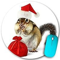 KAPANOU ラウンドマウスパッド カスタムマウスパッド、赤いサンタクロースの帽子と白い背景の上の贈り物とバッグのシマリス、PC ノートパソコン オフィス用 円形 デスクマット 、ズされたゲーミングマウスパッド 滑り止め 耐久性が 200mmx200mm